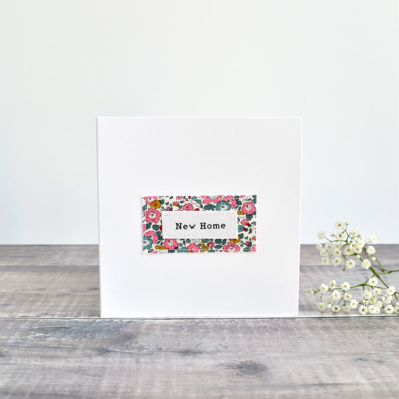 New Home card, stitched card with pink floral fabric handmade by Stitch Galore