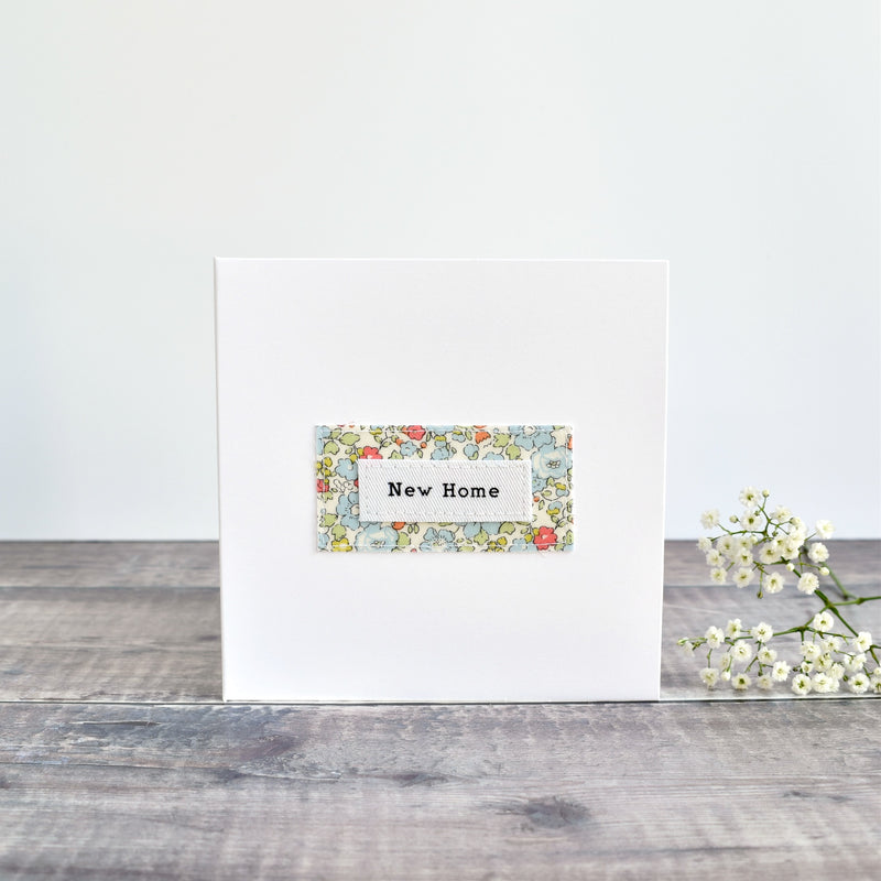 New Home card, stitched card with blue floral fabric handmade by Stitch Galore