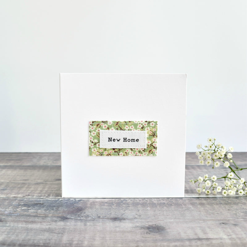 New Home card, stitched card with green floral fabric handmade by Stitch Galore