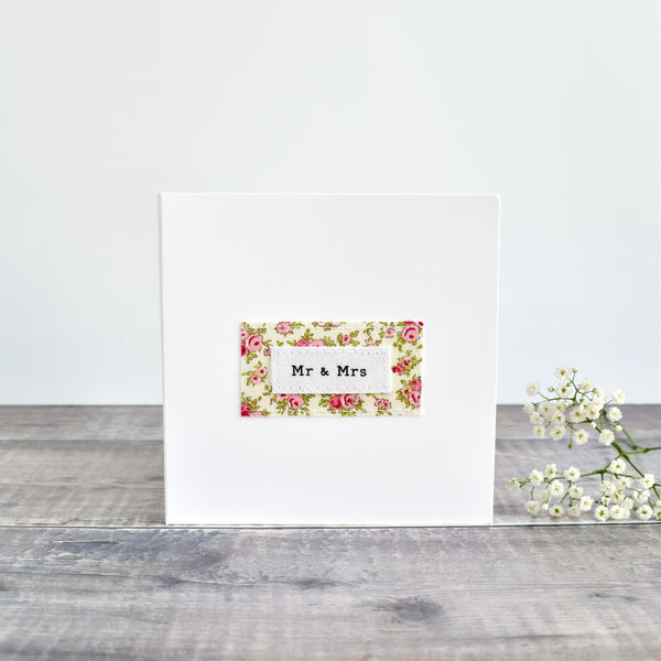 Mr & Mrs wedding card, stitched card with pink floral fabric handmade by Stitch Galore