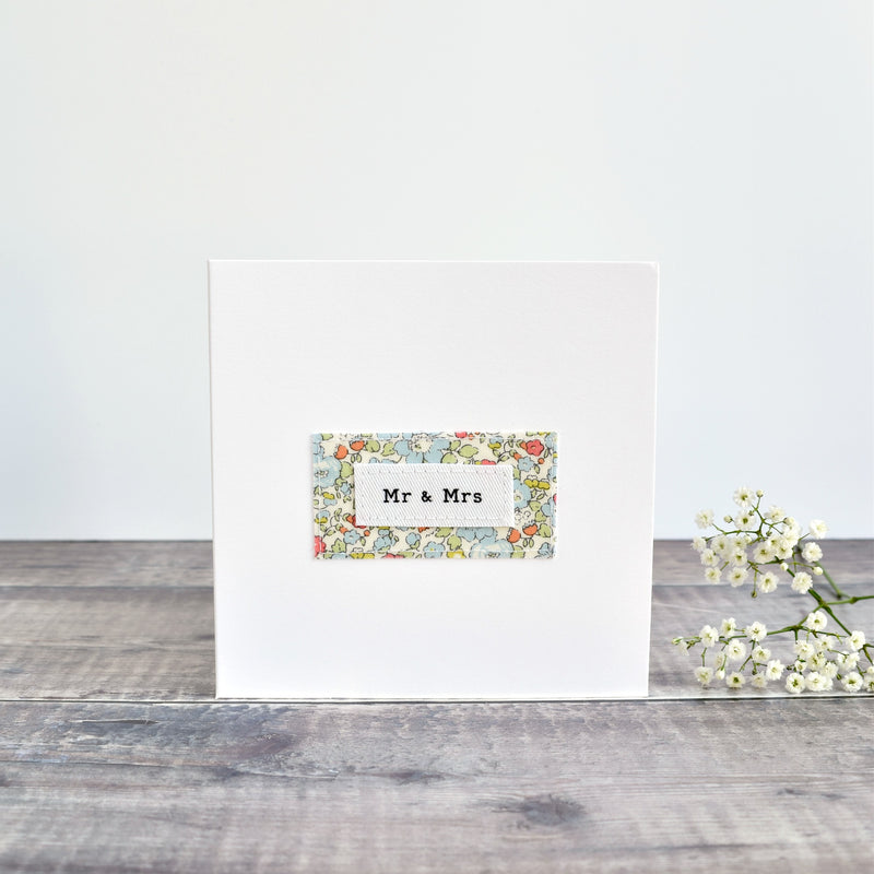Mr & Mrs wedding card, stitched card with blue floral fabric handmade by Stitch Galore