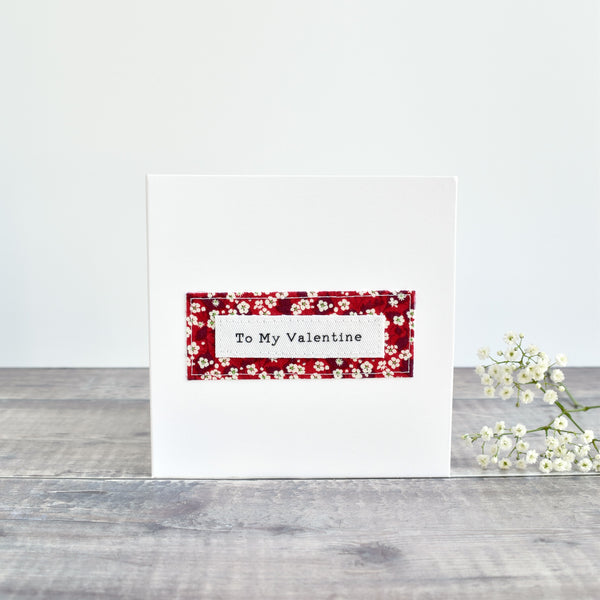 Valentine's Day card, stitched card with red floral fabric handmade by Stitch Galore