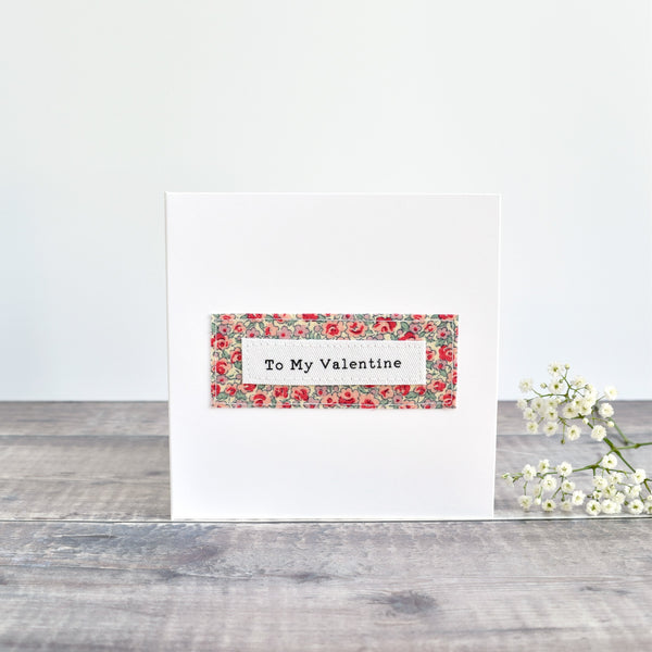 Valentine's Day card, stitched card with pink floral fabric handmade by Stitch Galore