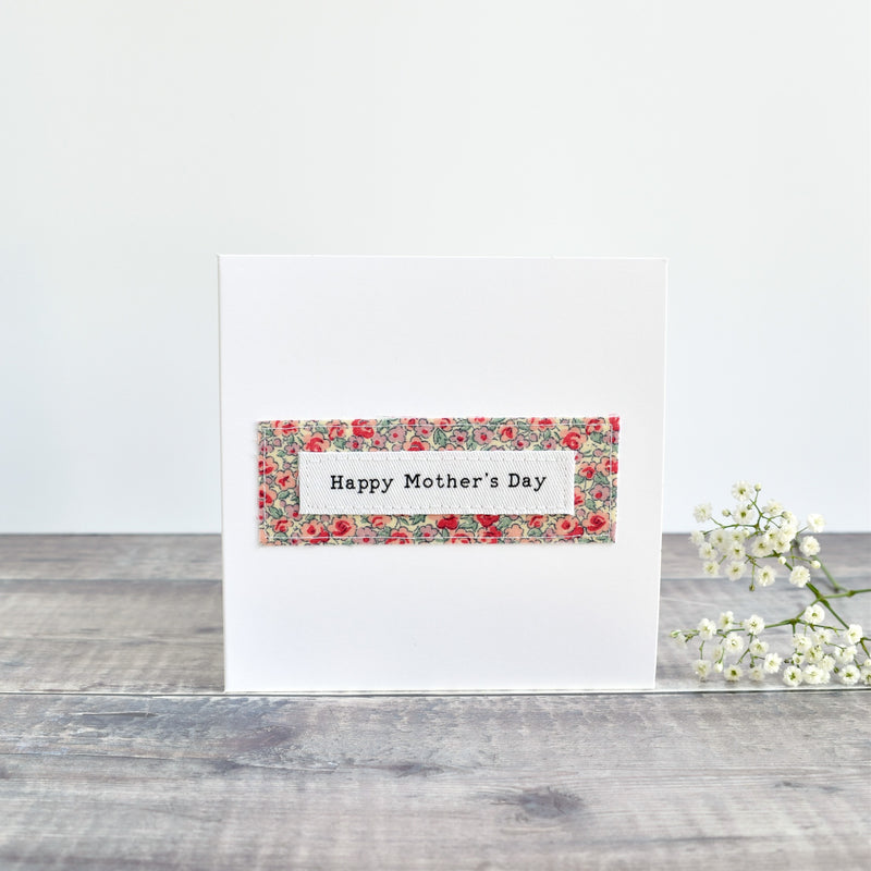 Happy Mother's Day card, stitched card with pink floral fabric handmade by Stitch Galore