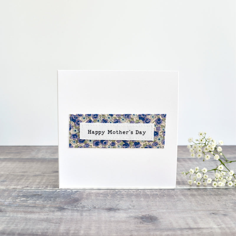 Happy Mother's Day card, stitched card with blue floral fabric handmade by Stitch Galore