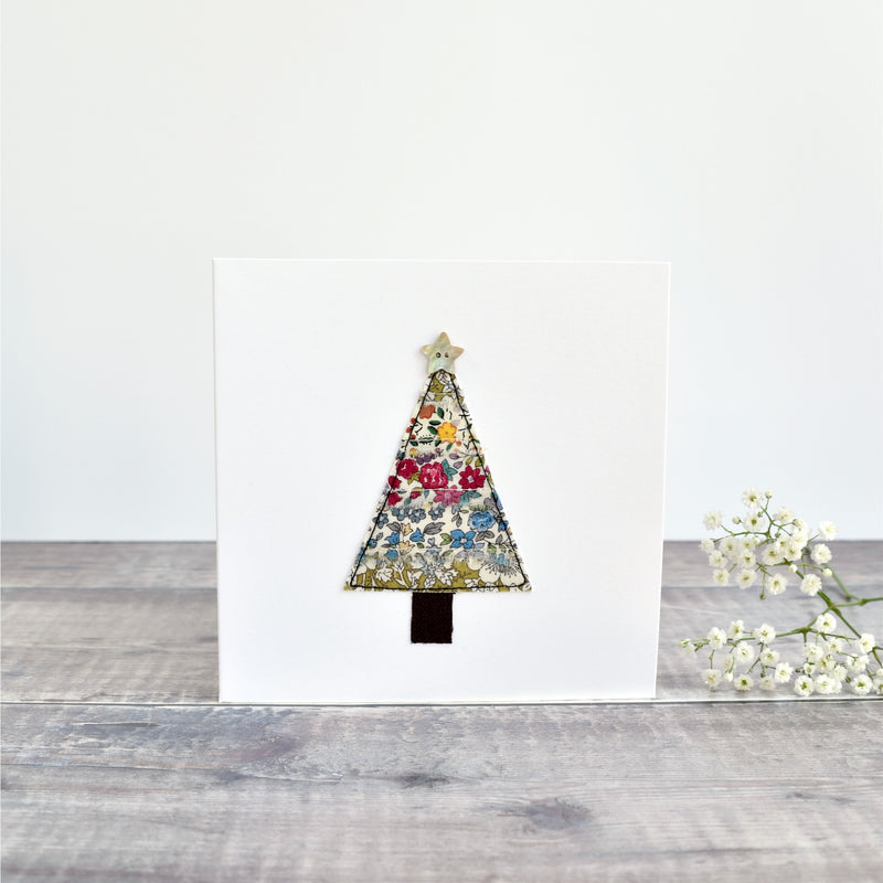 Christmas tree Christmas card, stitched card with  floral fabric handmade by Stitch Galore