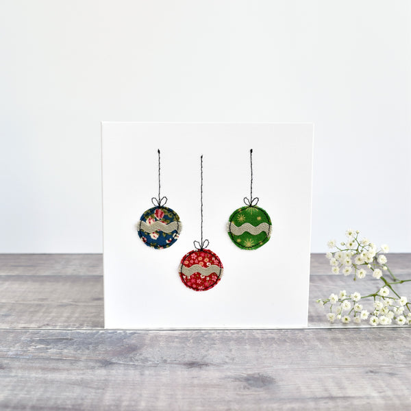Christmas baubles Christmas card, stitched card with floral fabric handmade by Stitch Galore