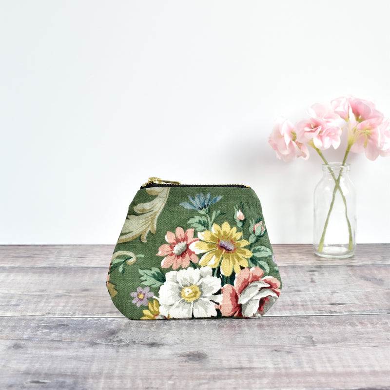 Coin purse made from green Sanderson vintage floral fabric handmade by Stitch Galore