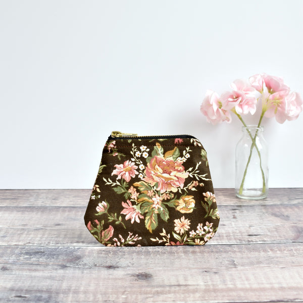 Coin purse made from brown Sanderson vintage floral fabric handmade by Stitch Galore