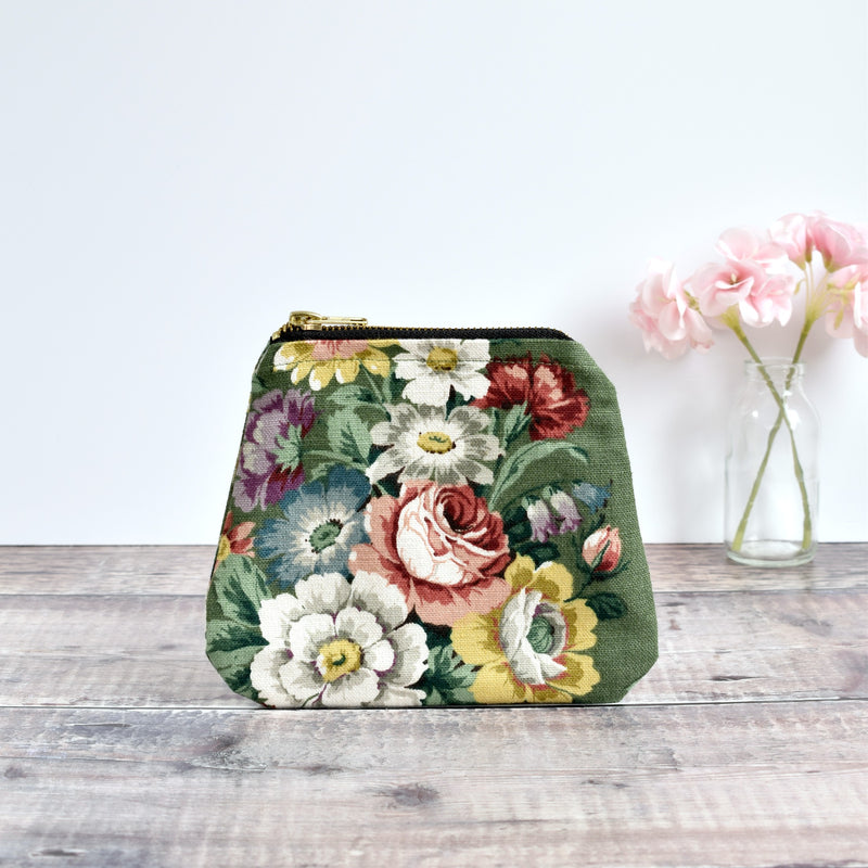 Zip purse made from green Sanderson vintage floral fabric handmade by Stitch Galore