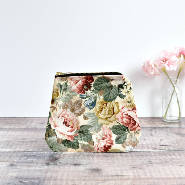 Zip purse, makeup bag made from cream floral vintage fabric handmade by Stitch Galore