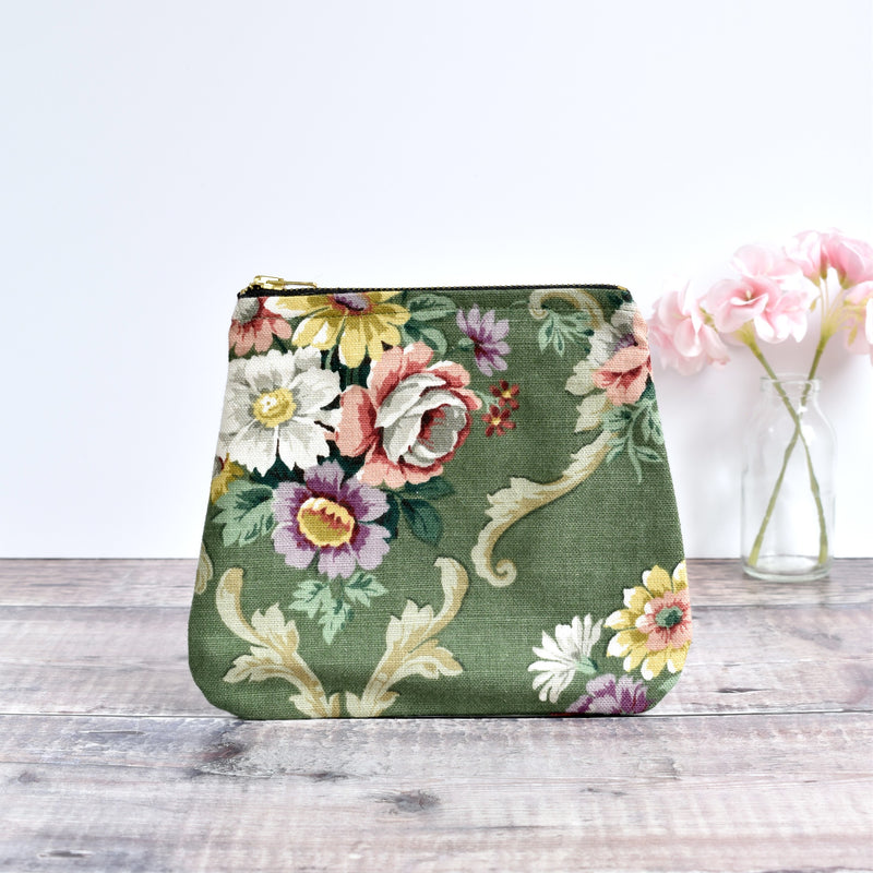 Zip pouch, makeup bag made from green Sanderson floral vintage fabric handmade by Stitch Galore