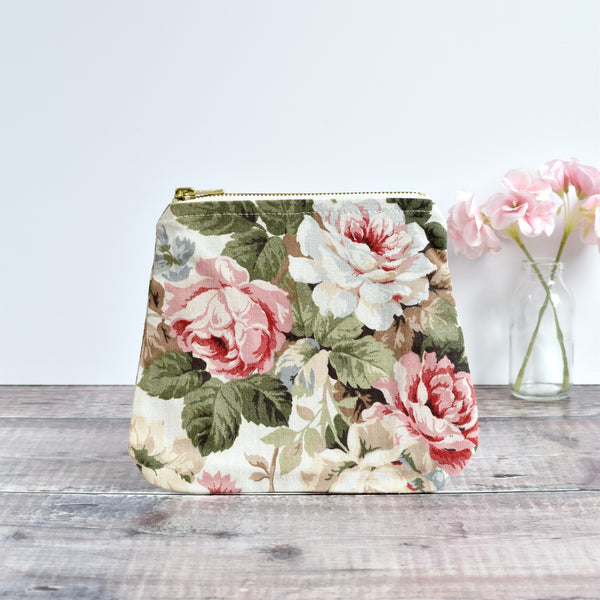 Zip pouch, makeup bag made from cream Sanderson floral vintage fabric handmade by Stitch Galore