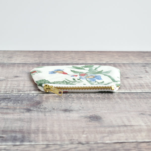 Coin purse made from cream Sanderson vintage floral fabric handmade by Stitch Galore