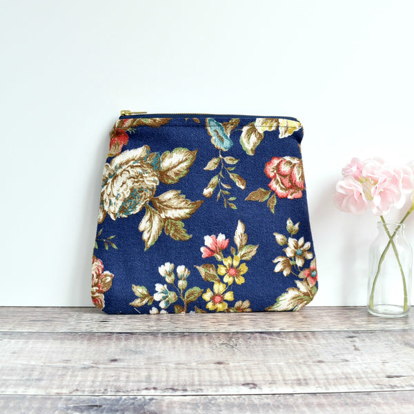 Large vintage fabric pouch, washbag, make-up bag made from blue floral vintage fabric handmade by Stitch Galore
