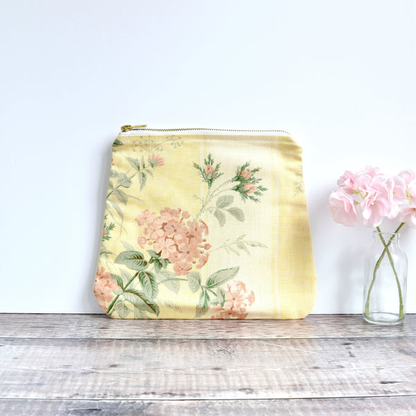 Large fabric pouch - yellow floral vintage fabric pouch