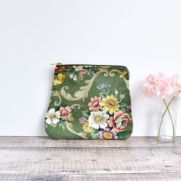 Zipper pouch, cosmetic bag made from green Sanderson floral vintage fabric handmade by Stitch Galore