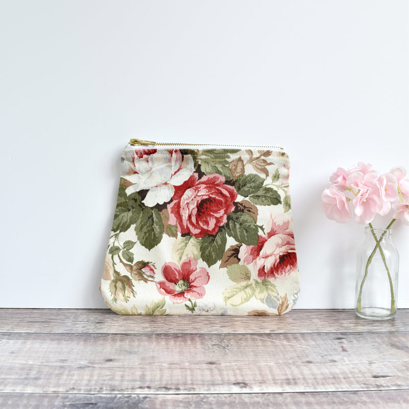 Zipper pouch, cosmetic bag made from cream Sanderson floral vintage fabric handmade by Stitch Galore