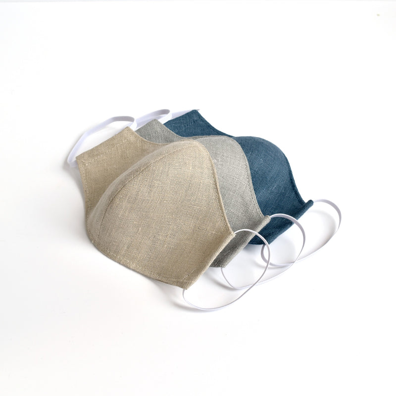 Natural linen fabric face masks, face coverings handmade by Stitch Galore