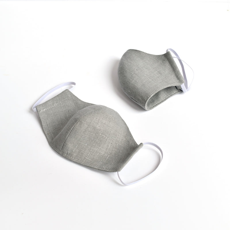 Grey linen fabric face mask, face covering handmade by Stitch Galore