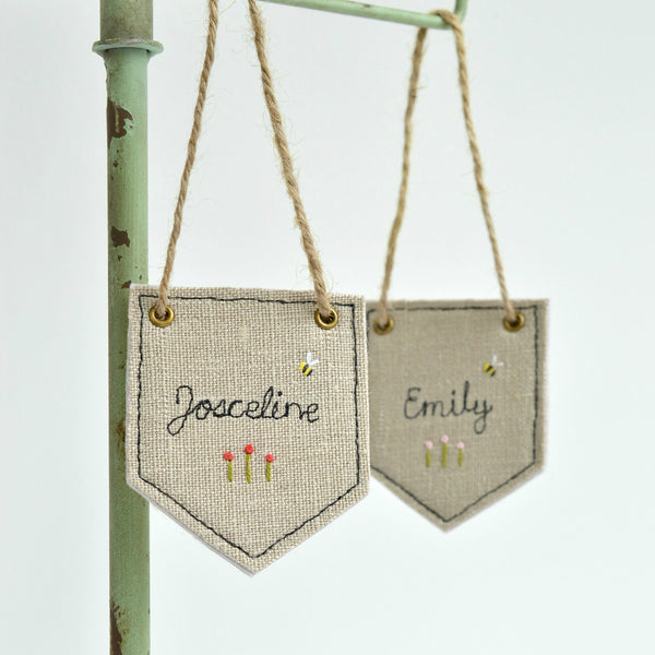 Personalised name banner, Embroidered name fabric banner handmade by Stitch galore
