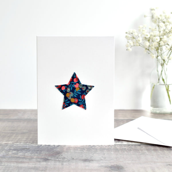 Navy Liberty fabric star card with berries handmade by Stitch Galore