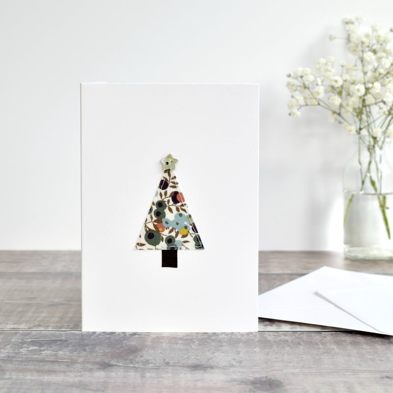 Sewn Christmas tree card mading using Liberty fabric