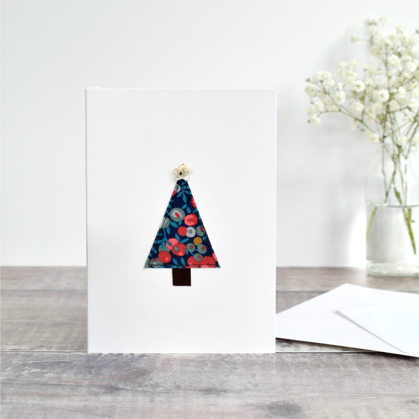 Embroidered Christmas tree Christmas card made from festive Liberty fabric handmade by Stitch Galore