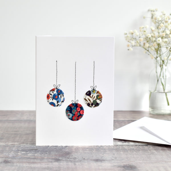 sewn Christmas card with liberty fabric baubles handmade by stitch galore