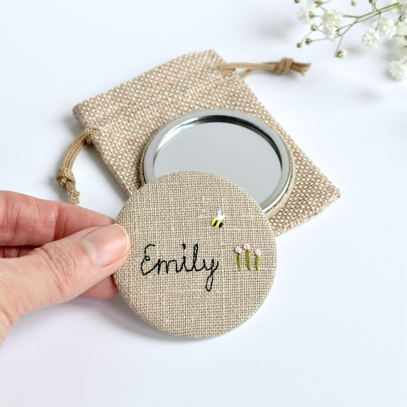 Personalised hand held mirror, embroidered pocket mirror handmade by Stitch Galore