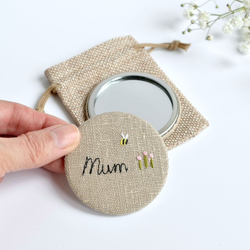 Personalised hand mirror, personalised Mum mirror handmade by Stitch Galore
