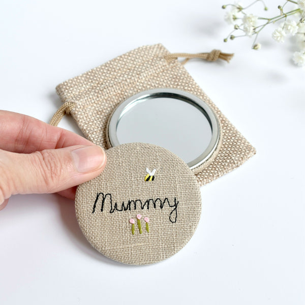 Personalised hand mirror, personalised Mummy mirror handmade by Stitch Galore