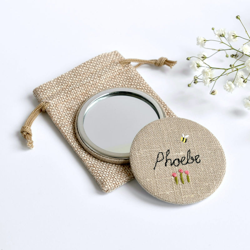 Personalised compact mirror, embroidered hand mirror handmade by Stitch Galore