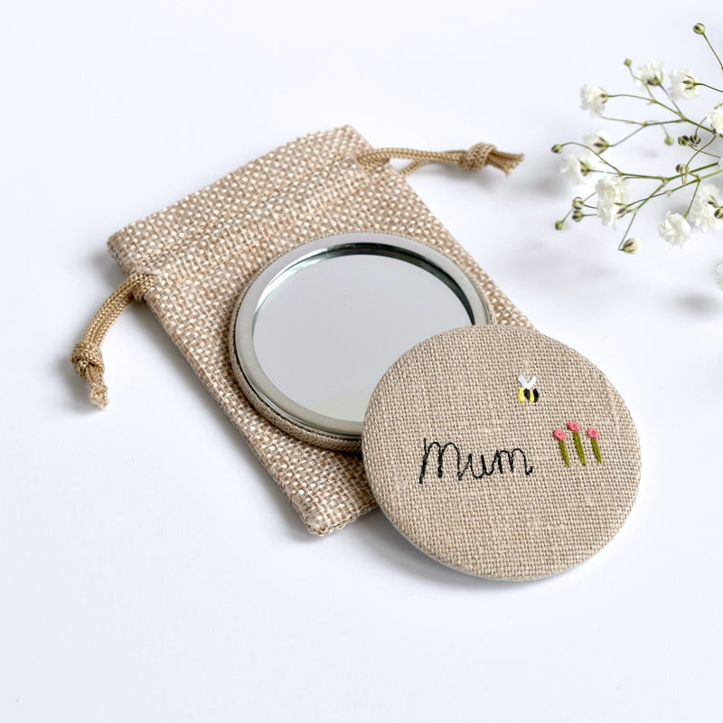 Mum compact mirror, embroidered hand mirror handmade by Stitch Galore