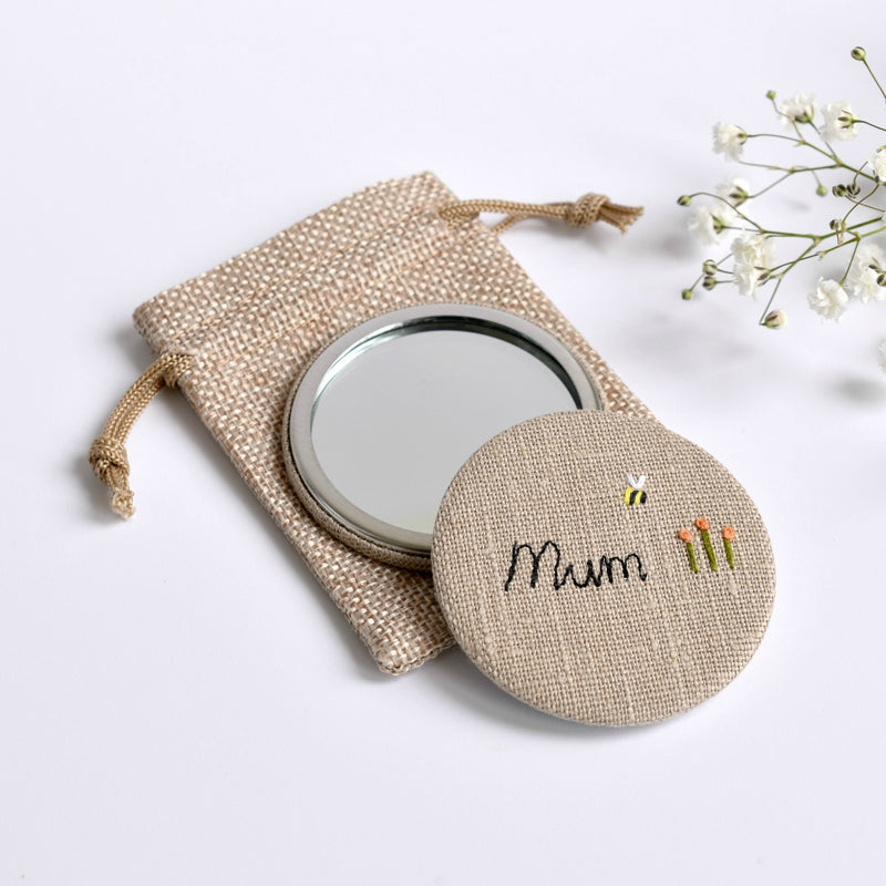 Mum pocket mirror, personalised compact mirror handmade by Stitch Galore