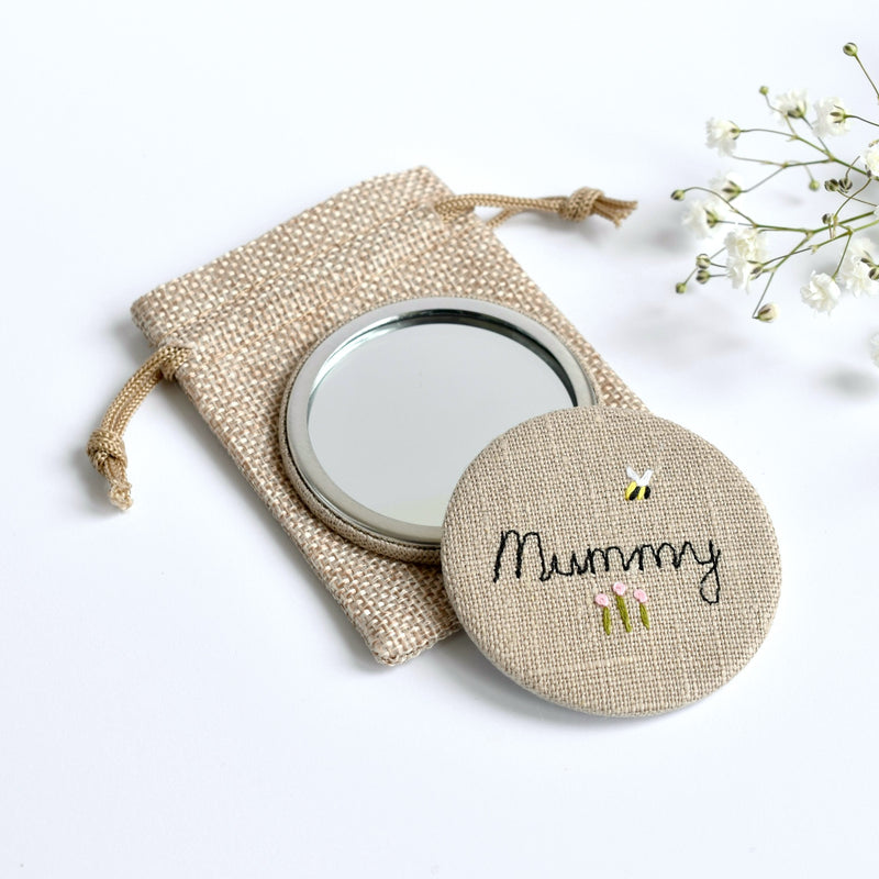Mummy pocket mirror, personalised compact mirror handmade by Stitch Galore