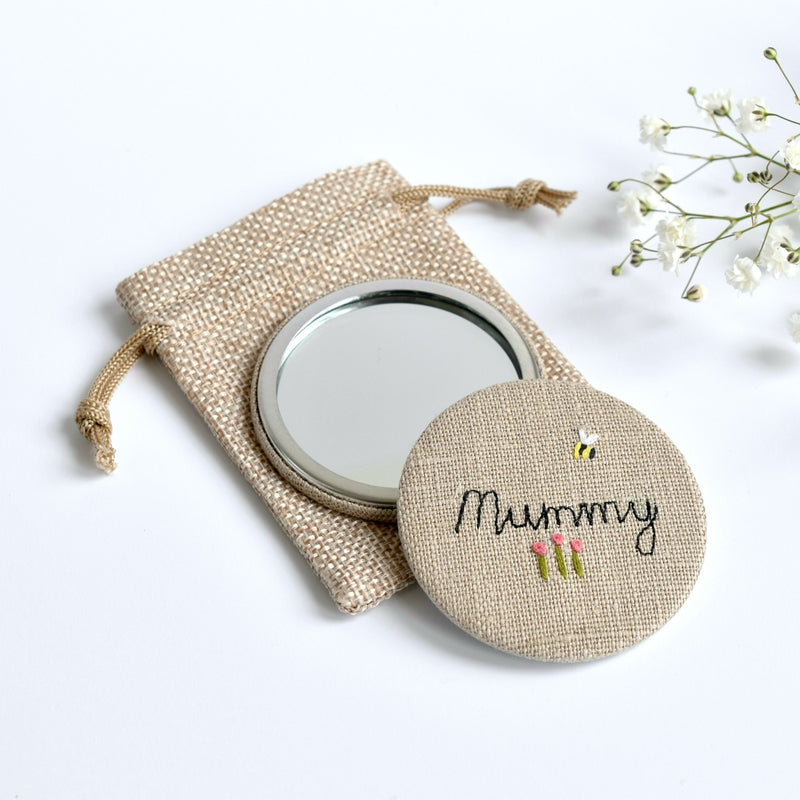 Mummy compact mirror, embroidered hand mirror handmade by Stitch Galore