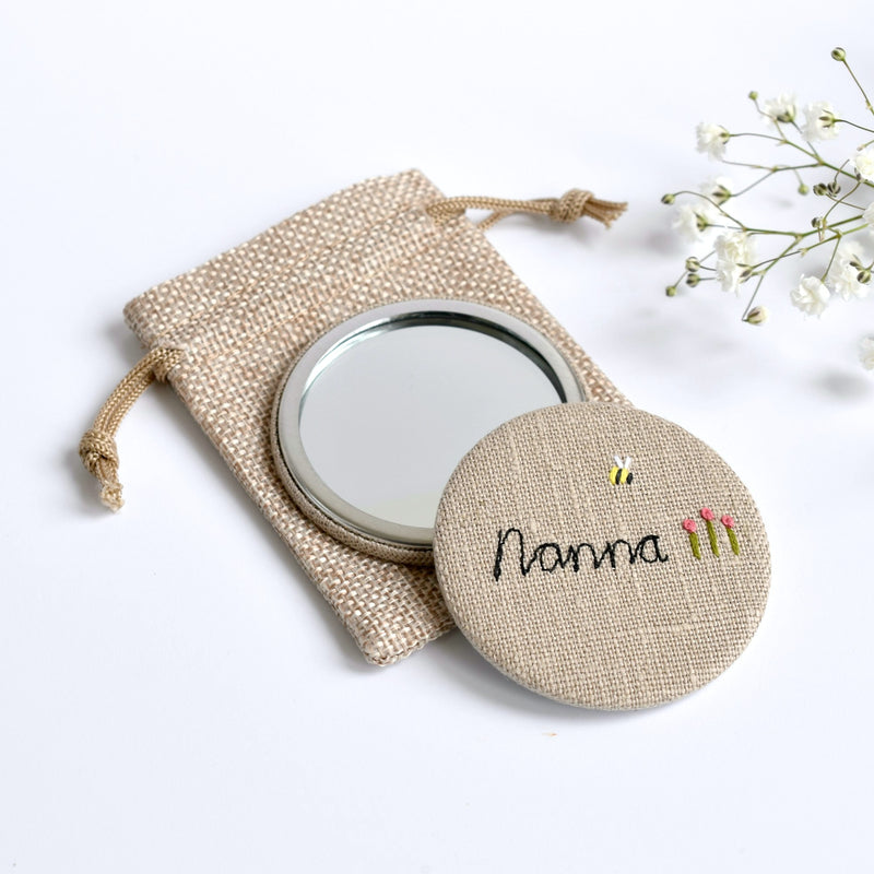 Personalised pocket mirror, embroidered compact mirror handmade by Stitch Galore