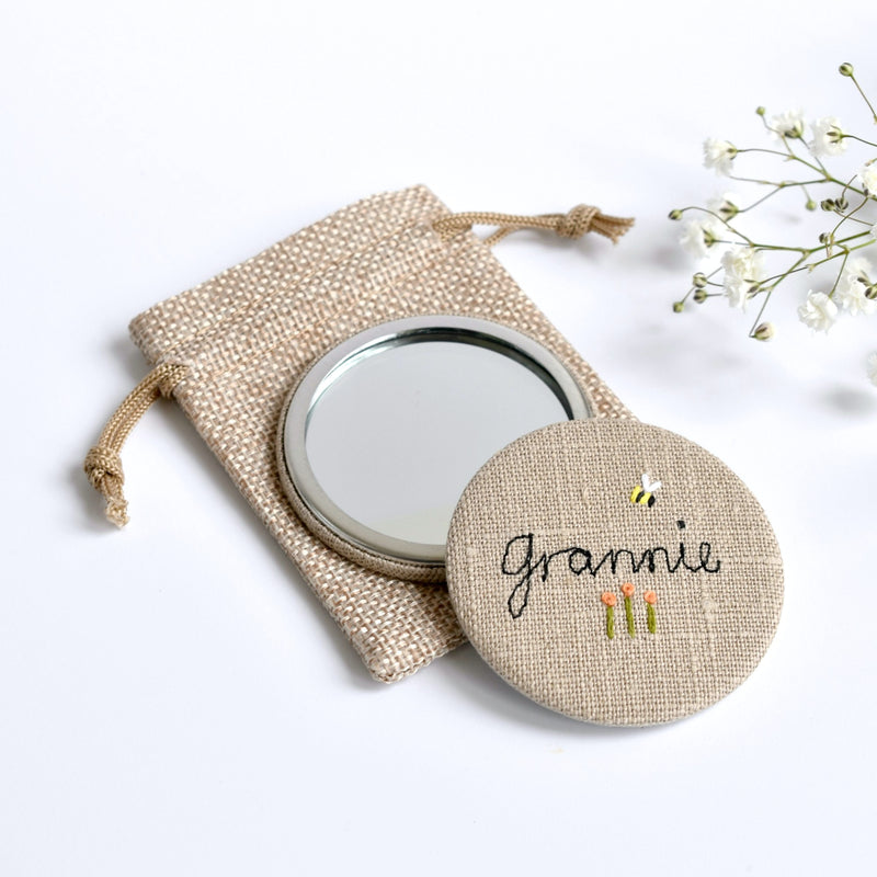 Embroidered personalised pocket mirror, personalised compact mirror handmade by Stitch Galore