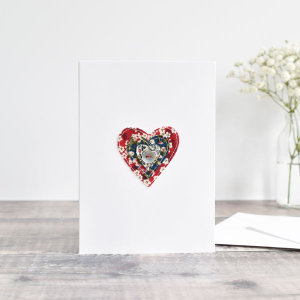 Embroidered Liberty fabric heart card handmade by stitch galore