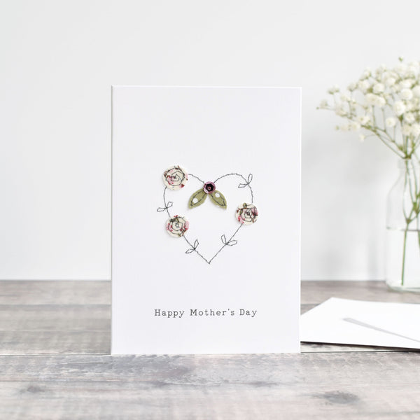 Happy Mother's day card  with an embroidered heart and flowers handmade by stitch galore