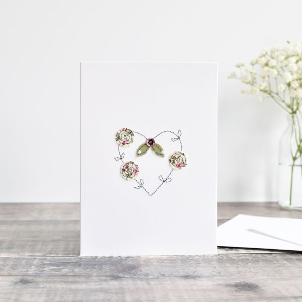 Embroidered heart card with flowers handmade by stitch galore