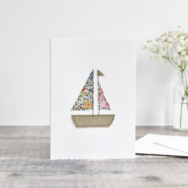 sewn sailing boat greetings card, Liberty fabric card, embroidered leaving bon voyage card handmade by Stitch Galore