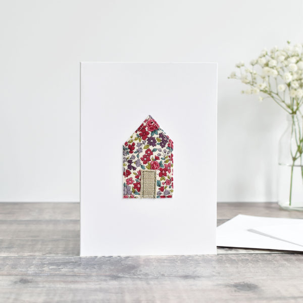 Sewn new home card, Embroidered house warming card handmade by Stitch Galore