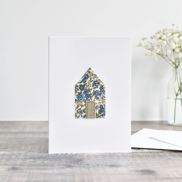 Sewn moving home card, Embroidered house warming card handmade by Stitch Galore