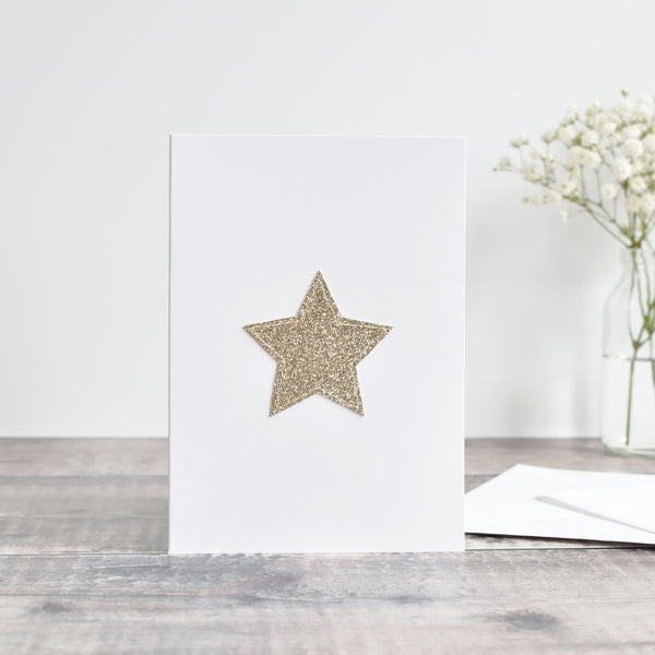 Glitter fabric gold star card handmade by Stitch Galore