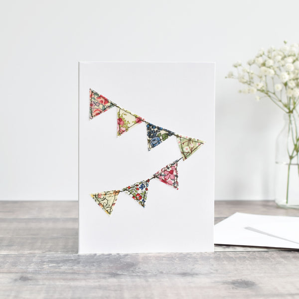 Embroidered fabric bunting greetings card handmade by Stitch Galore