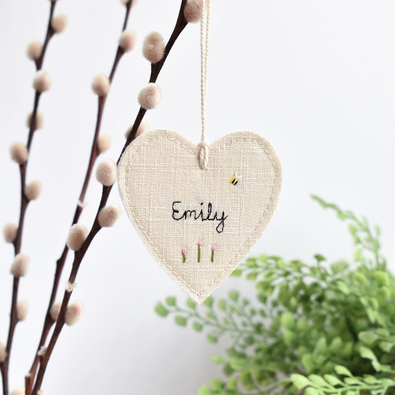 Embroidered personalised hanging heart decoration handmade by Stitch Galore