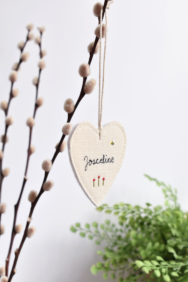 Personalised linen fabric heart, name heart keepsake handmade by Stitch Galore