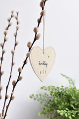 Sewn personalised heart decoration, sewn personalised gift tag handmade by Stitch Galore